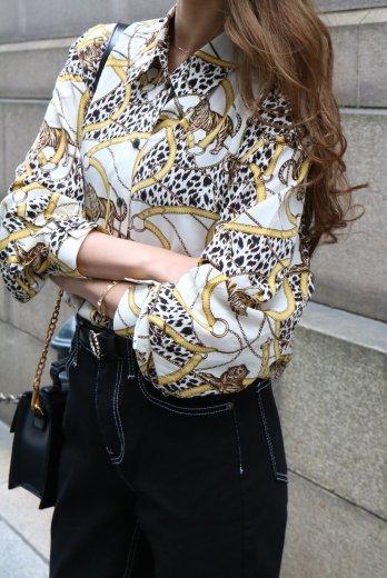 【vintage】standard collar leopard pattern blouse