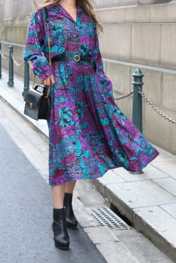 【vintage】80's open collar paisley pattern flare dress