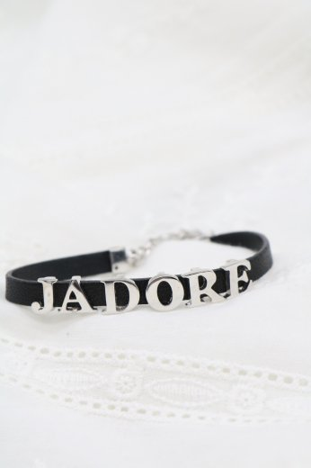 【vintage】Christian Dior / 'JADORE' leather bracelet