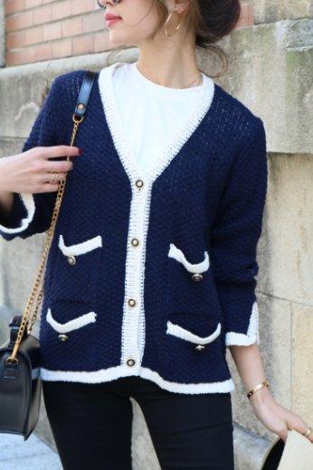 marine look linen cardigan / navy