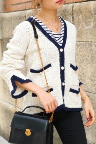 marine look linen cardigan / ivory