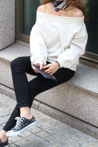 2way off shoulder rib neck sweat tops / pale gray