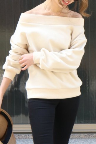 2way off shoulder rib neck sweat tops / beige