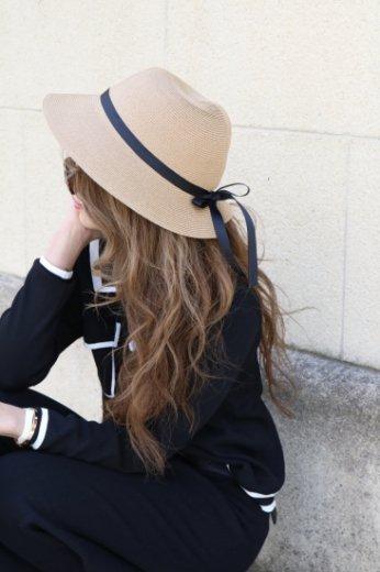 back ribbon paper hat / brown