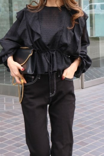 gold thread mix frill see-through blouse / black