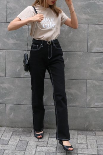 <img class='new_mark_img1' src='https://img.shop-pro.jp/img/new/icons57.gif' style='border:none;display:inline;margin:0px;padding:0px;width:auto;' />white stitch side slit denim pants / black