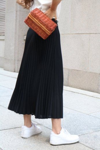 waist gather pleats skirt / black