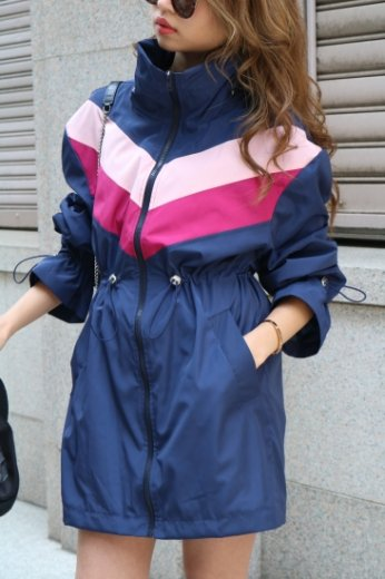 2way multi color nylon blouson / navy