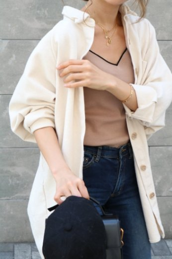 2way cotton shirt tops (belt set) / ivory