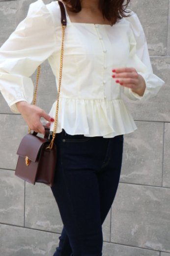 peplum cotton blouse / white