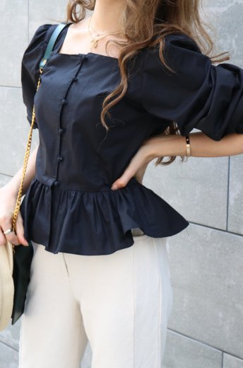 peplum cotton blouse / black