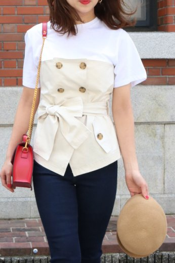 trench corset docking tops / beige