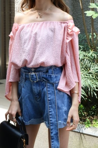 2way gather neck off shoulder frill tops / pink