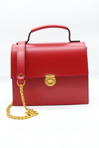 2way gold chain bag / red