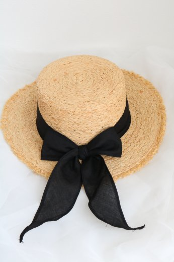 raffia ribbon hat / black