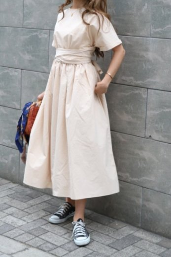 2way ribbon flare dress / ivory