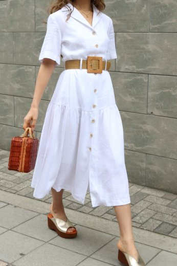 open collar linen flare dress (belt set) / white