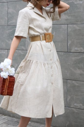 open collar linen flare dress (belt set) / beige