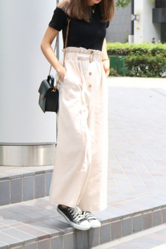 rib tops docking linen pants all in one (belt set) / black×beige