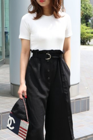 rib tops docking linen pants all in one (belt set) / white×black