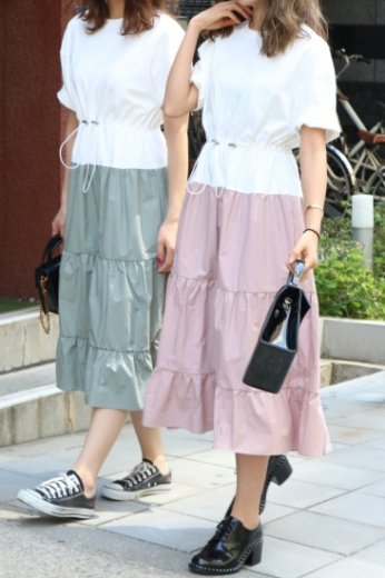 tee shirt docking flare dress / dusty pink