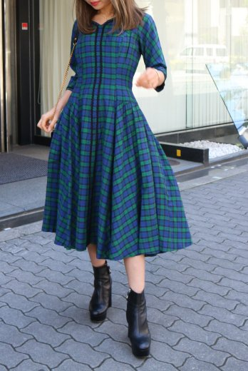 【vintage】V neck check pattern flare dress