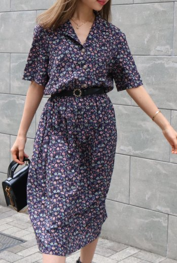 【vintage】open collar silver button flower pattern dress / navy