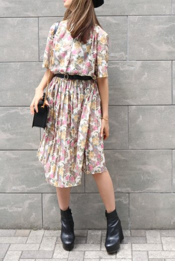 【vintage】stand collar pearl button flower pattern see-through dress