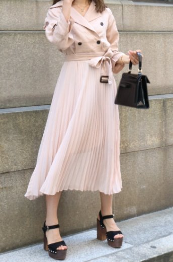 trench pleats dress (belt set) / pink