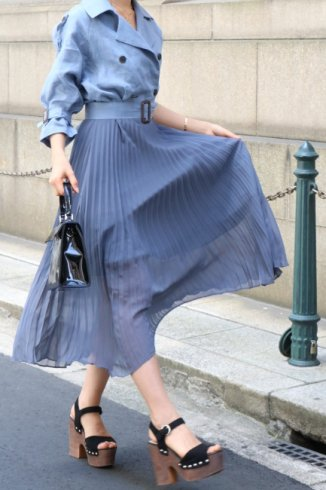 trench pleats dress (belt set) / navy