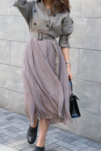 trench pleats dress (belt set) / khaki