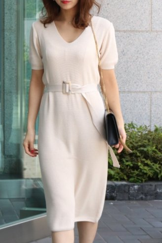 basic summer knit dress (belt set) / beige