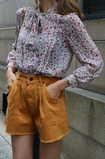 【vintage】 front ribbon flower pattern chiffon blouse