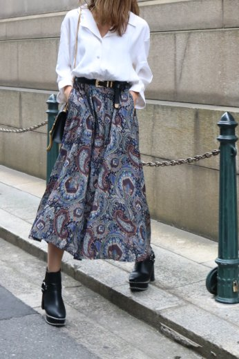 【vintage】 open collar paisley pattern long dress