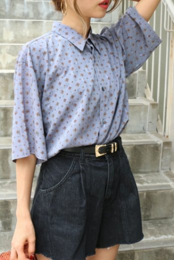 【vintage】 standard collar patterned all over blouse
