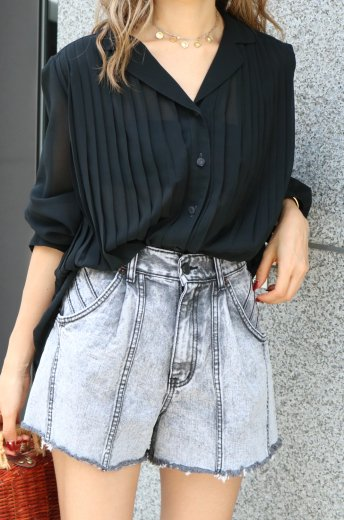【vintage】 open collar  front button pleats see-through blouse