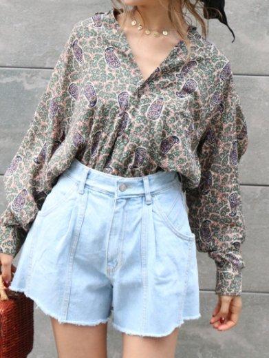 【vintage】 standard collar paisley pattern blouse