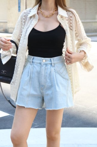 side line cut off denim short pants /light blue