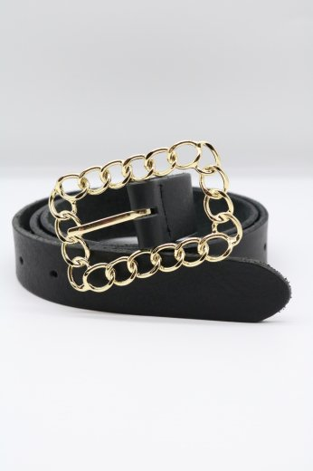 gold chain square buckle leather belt