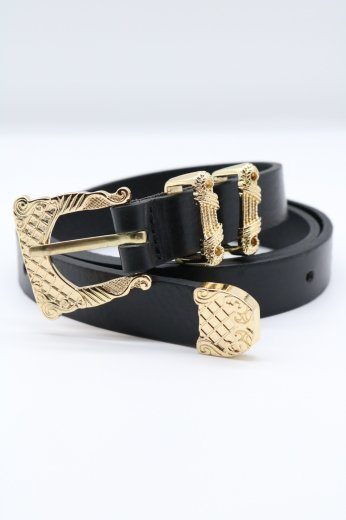 vintage like gold buckle fake leather belt
