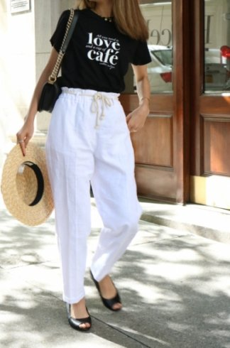 linen tapered pants(ribbon set) / white