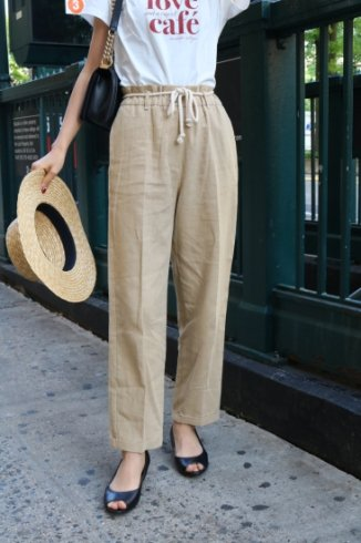 linen tapered pants(ribbon set) / beige