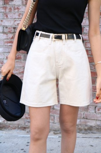 waist adjust cotton short pants / ivory