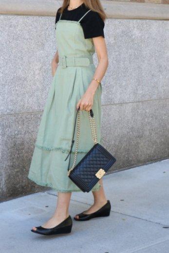 fringe tiered cotton camisole dress (belt set) / khaki