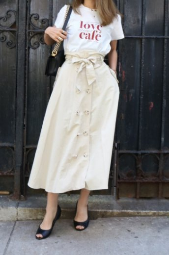 front button nylon flare skirt (belt ribbon set) / beige