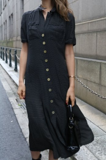 【vintage】 dot pattern silk flare dress