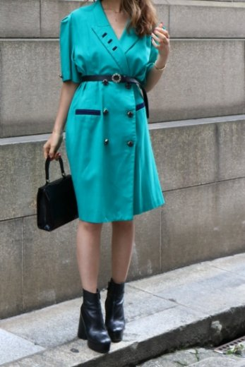 【vintage】 notched lapel collar front retro button dress