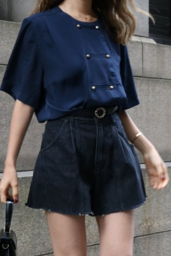【vintage】 no collar napoleon blouse / navy