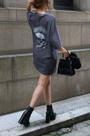 【vintage】 HARLEY DAVIDSON / bergen country HD limited big silhouette print tee / gray