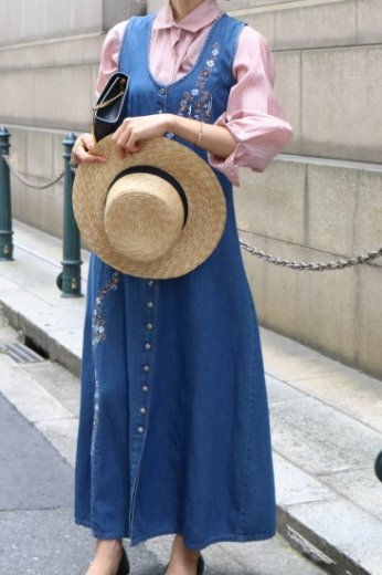 【vintage】 embroidery flower pattern sleeveless long denim dress